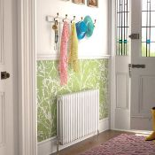 (O110) 600X812mm White Double Panel Horizontal Colosseum Traditional Radiator. Rrp £476.99. M...