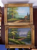 Vintage Country Scene Oil Paintings