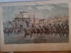 After Francois Flameng, Lithograph ' La Revue' with Napoleon Bonaparte
