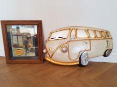 Retro Double Diamond Advertising Picture & Metal VW Campervan