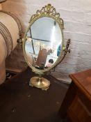 Vintage Brass Swivel Dressing Table Mirror