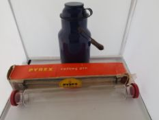 Retro Pyrex Glass Rolling Pin and Emamel Tea Can