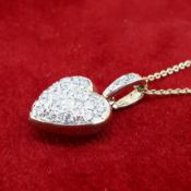 "9ct (375) Yellow Gold & Diamond Heart Pendant on a 16"" Trace Chain Necklace"