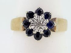 9ct (375) Yellow Gold Diamond & Sapphire Cluster Ring
