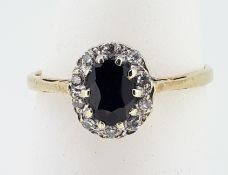 9ct (375) Yellow Gold Oval Sapphire and Diamond Cluster Ring