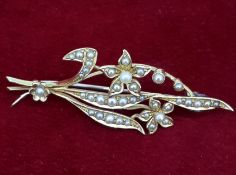 15ct (585) Yellow Gold Seed Pearl Flower Brooch