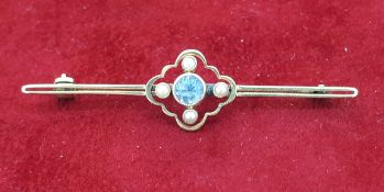 Vintage Yellow Metal Seed Pearl and Blue/White Stone Brooch