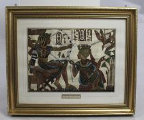 Egyptian Painted Papyrus Artwork Set in Gilt Frame
