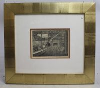 King's Cross Underground Etching Print Set in Wide Gilt Frame