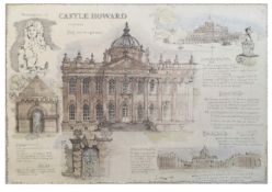 Castle Howard original with signature Louise Adam's (Morales) sketch sepia and watercolour