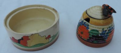 Clarice Cliff Honey Pot and Lid, together with another Clarice Cliff Pot
