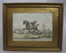 """Hounds in Full Cry"" Antique Hunting Print"