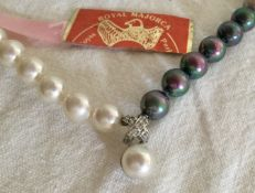 Vintage unusual pearls criss cross design Royal Majorca Necklace white and grey