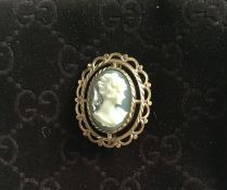 Vintage Ernest Jones 9Ct Gold Cameo Brooch And Earrings Set