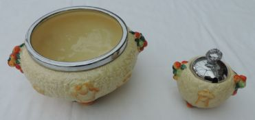 Clarice Cliff Celtic Harvest Salad Bowl and Preserve Pot