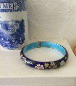 Vintage Flower Design Enamel Bangle Bracelet