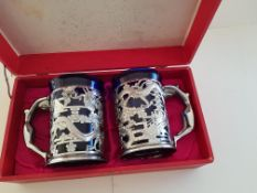 Vintage Japanese Chrome Tankards