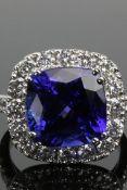 Tanzanite 8.94ct & Diamond 1.71ct 18ct White Gold Ring