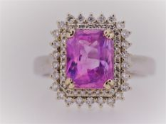 GIA Certified Vivid Pink VVS Untreated Sapphire & Diamonds Ring