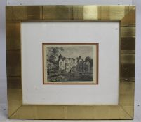 Holland House Etching Print Set in Wide Gilt Frame