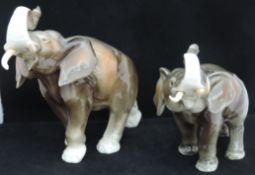 2 Royal Dux Trumpeting Elephant Figures