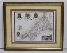 Map of Cornwall Print Framed