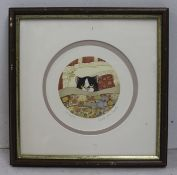 Small Linda Jane Smith Signed Cat in Bed Print