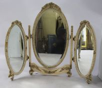 Vintage Cream Triple Dressing Table Mirror