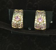18Ct Gold Diamond And Pink Sapphire Earrings