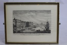 Print of Engraving The Thames London 18th c. Framed