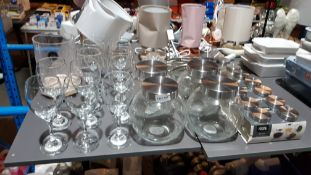 32 Items : Mixed Glassware Lot To Include Wine Glasses, Vase, Bon Bon Jars & Spice Jars