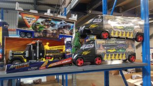 4 Items : 1 X Adventure Force Utility Vehicle, 2 X Truck Car Case & 1 X Monster Jam Trailer
