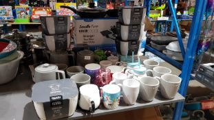 Approx 55 Items : Mixed Mugs / Drinking Vessels & Tea / Coffee Pots
