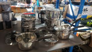 9 X Mixed Pans To Include 3 Tier Steamer