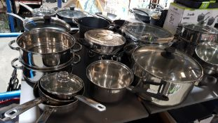 10 Items : Mixed Cooking Pots To Include Large Stock Pot & 2 Tier Large Steamer / Drainer
