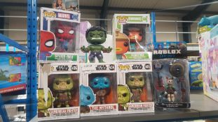7 Items : 1 X Robolox Lucky Gatito & 6 X Mixed Pop! Dolls To Include Marvel, Star Wars & Fortnite