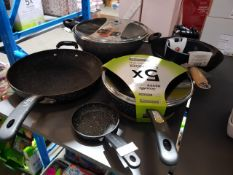 6 Items : Mixed Pan Set To Include Scoville & 32cm Non Stick Wok