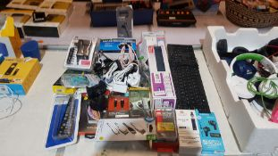 Mixed Electrical Lot – To Include Equip 12V Air Compressor, 4 Device Remote Control, Basics Power A