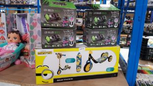 5 Items : 4 X Xootz LED Roller Wheels & 1 X Minions Deluxe Tri-Scooter