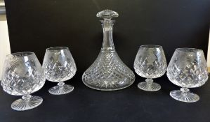 Vintage Etched Cut Crystal Brandy Balloons & Decanter