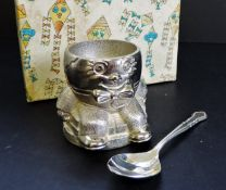 Silver Plate Egg Cup and Spoon Set Boxed