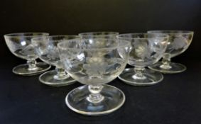Antique Edwardian Etched Glass Dessert Bowls