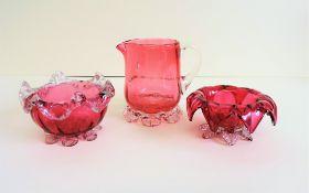 Victorian Cranberry Glass Creamer Condiment Set