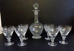 Vintage Crystal Decanter and Glasses Drinks Set