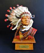 Franklin Mint Porcelain Sculpture Chief Sitting Bull