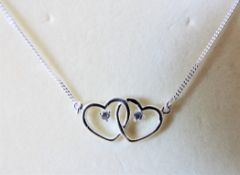 Sterling Silver & Cubic Zirconia Love Hearts Necklace