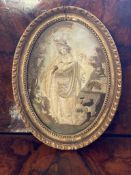 C18th Oval silkwork picture in giltwood