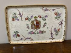 A C19th Samson tray with central cresting in Famille rose palette