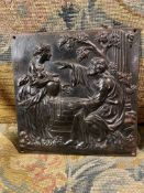 C19th cast-iron patinated relief plaque
