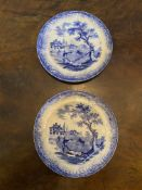 Two C19th blue and white Childs plates